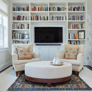 Home office library - small transitional built-in desk dark wood floor and brown floor home office library idea in DC Metro with white walls