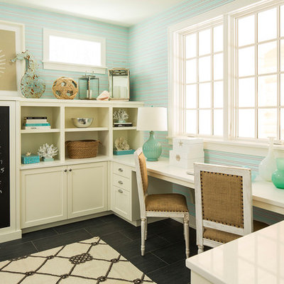 Beach style built-in desk home office photo in Minneapolis
