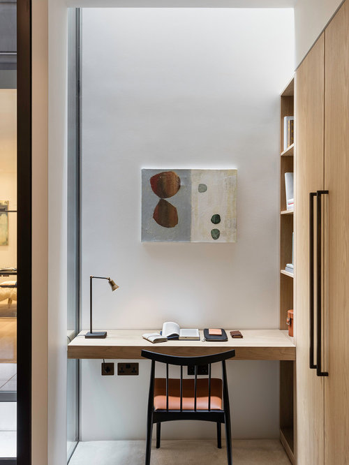 Small Contemporary Built In Desk Beige Floor Home Office Idea London With White Walls