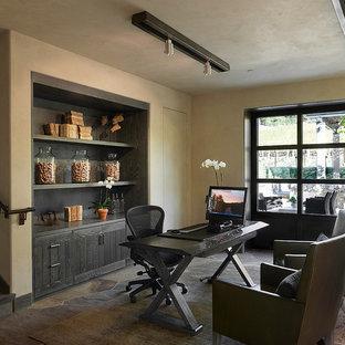 На фото: кабинет в современном стиле с полом из сланца с