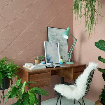 Kinect Powdered Rose Cross-Hatch Pattern Ceramic Tile