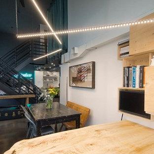 トロントの小さいエクレクティックスタイルのおしゃれなアトリエ・スタジオ (白い壁、コンクリートの床、標準型暖炉、金属の暖炉まわり、造り付け机) の写真