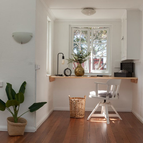 Inspiration For A Scandinavian Home Office In Sunshine Coast With White  Walls, No Fireplace,