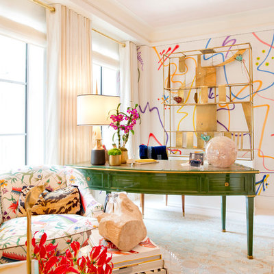 Inspiration for an eclectic freestanding desk study room remodel in New York with multicolored walls