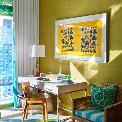 Inspiration for an eclectic freestanding desk home office remodel in New York with green walls