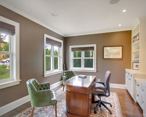 Traditional Freestanding Desk Medium Tone Wood Floor Home Office Idea In  Seattle With Brown Walls Part 72