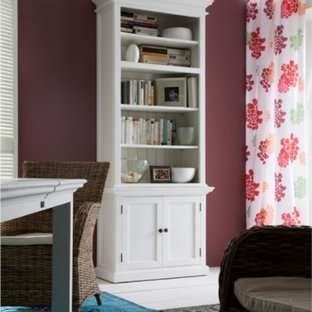 Inspiration for a medium sized classic home studio in New York with purple walls, carpet, no fireplace, a freestanding desk and multi-coloured floors.