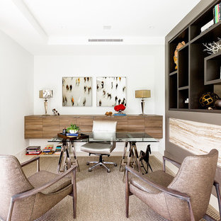 Inspiration for a mid-sized contemporary freestanding desk study room remodel in Miami with white walls and no fireplace
