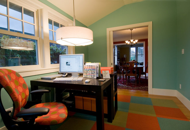 Contemporary Home Office by Ventana Construction LLC