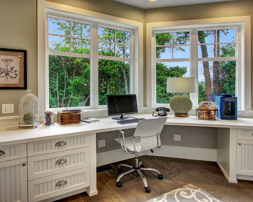 Inspiration For A Timeless Built In Desk Dark Wood Floor Home Office  Remodel In Seattle