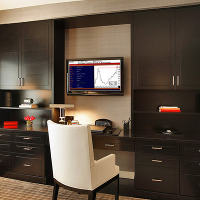 Home office - contemporary built-in desk home office idea in New York