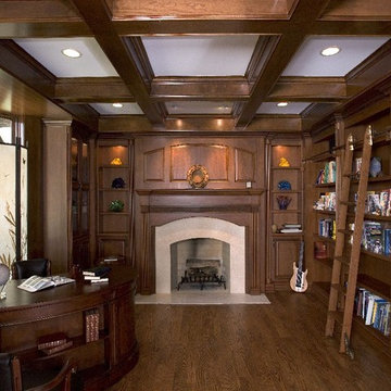 Knotty Alder Library with Built In Bookcases, Fireplace and Beams