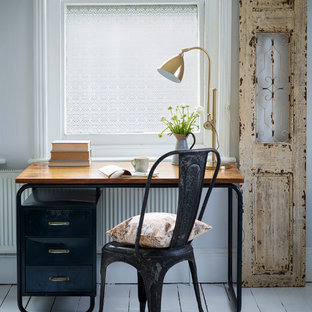Example of a cottage chic freestanding desk painted wood floor home office design in Buckinghamshire