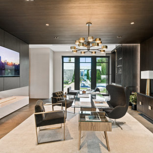 Inspiration for a contemporary freestanding desk medium tone wood floor, brown floor, wood ceiling and wood wall study room remodel in Miami with black walls and no fireplace