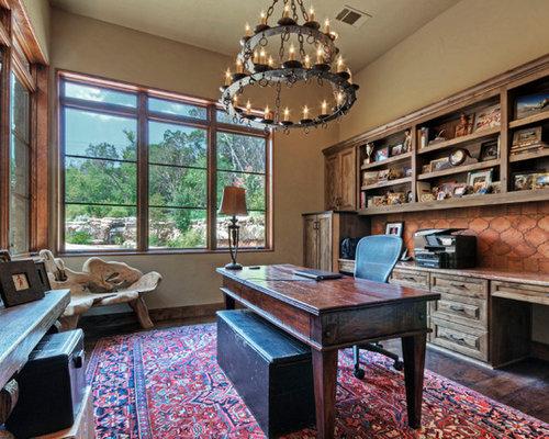 Rustikale arbeitszimmer ideen design bilder houzz - Arbeitszimmer wandfarbe ...
