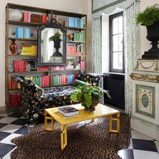 Idéer för eklektiska arbetsrum, med vita väggar och flerfärgat golv