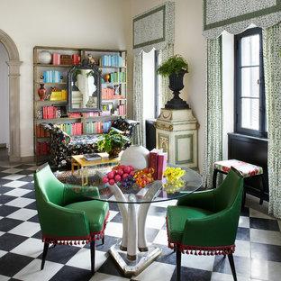 シカゴのコンテンポラリースタイルのおしゃれなホームオフィス・書斎 (白い壁、マルチカラーの床) の写真
