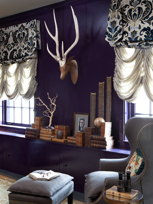 bureau clectique avec un mur violet photos et id es d co de bureaux. Black Bedroom Furniture Sets. Home Design Ideas