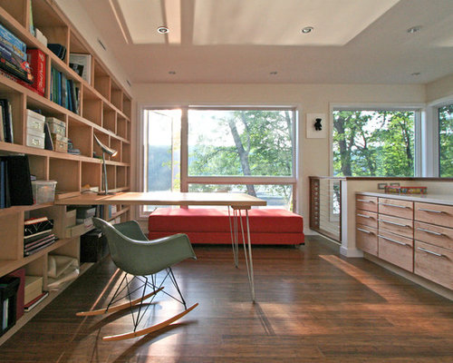 example of a minimalist built in desk dark wood floor home office design in new - Dark Wood House Interior