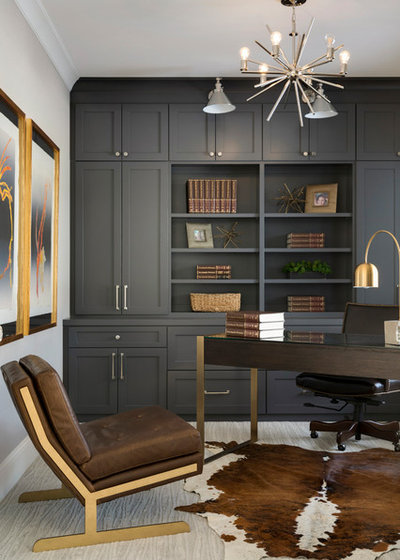 Transitional Home Office by Muska Lighting Center