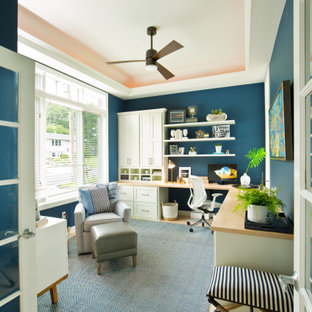 Mid-sized transitional home office photo in Minneapolis