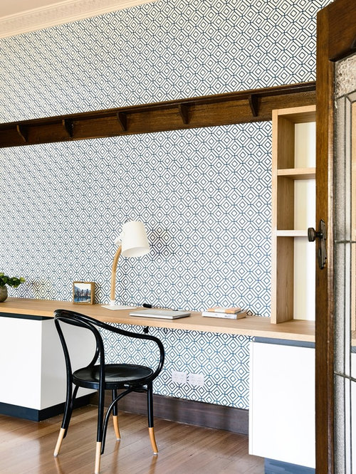 Inspiration For A Contemporary Home Office In Other With Blue Walls, Light  Hardwood Floors And