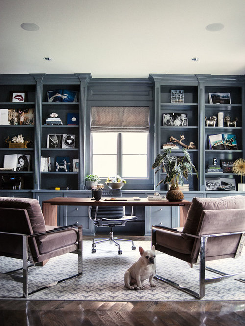 Transitional Home Office Design Ideas Renovations Photos With Dark Hardwood Floors