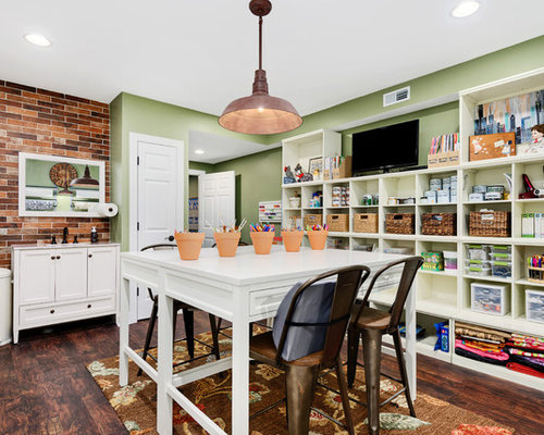 Country Freestanding Desk Dark Wood Floor Craft Room Photo In Chicago With Green Walls