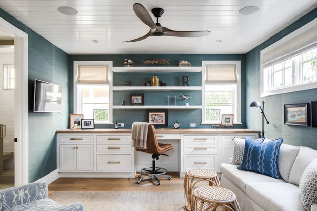 Beach Style Home Office by Patterson Custom Homes