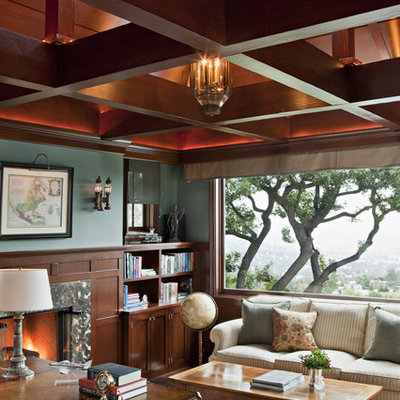 Inspiration for a timeless freestanding desk home office remodel in Los Angeles with green walls and a standard fireplace