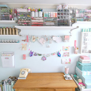 Design ideas for a shabby-chic style craft room in Devon.