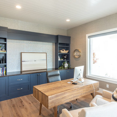 Large transitional freestanding desk light wood floor and beige floor study room photo in Salt Lake City with gray walls and no fireplace