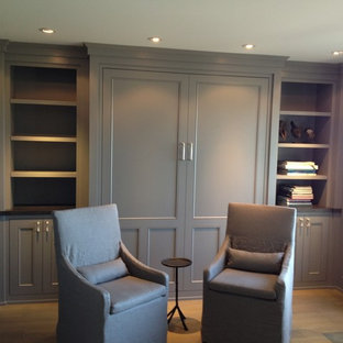 Study room - transitional study room idea in Other with gray walls