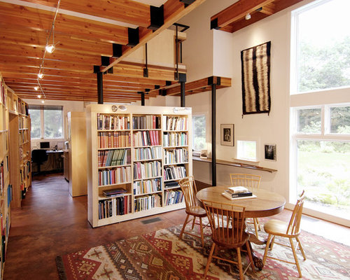 Mountain Style Home Office Photo In Boston With Concrete Floors