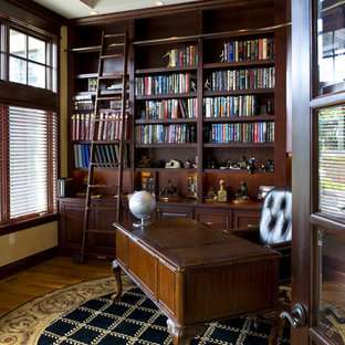 Inspiration for a timeless freestanding desk medium tone wood floor home office remodel in Minneapolis