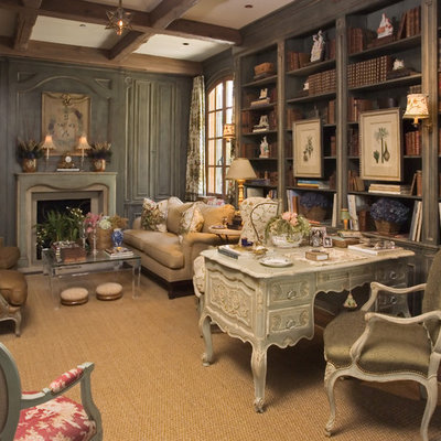Inspiration for a timeless freestanding desk dark wood floor home office remodel in Other with a standard fireplace