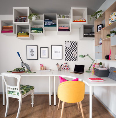 Eclectic Home Office & Library by Victoria Hopkins Interiors