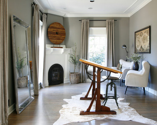 Inspiration For A Large Transitional Freestanding Desk Medium Tone Wood  Floor And Brown Floor Home Office