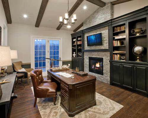 Traditional home office design ideas renovations photos - Home office design ideas with stones trails ...