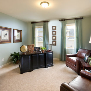 Mid-sized elegant freestanding desk carpeted and beige floor study room photo in Atlanta with blue walls and no fireplace
