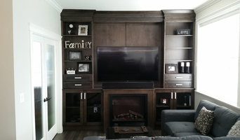 living room wall unit in stained birch