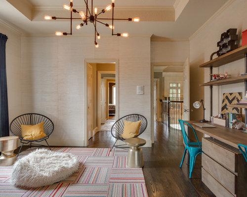 home office wall ideas. Home Office - Transitional Built-in Desk Dark Wood Floor Idea In Little Wall Ideas