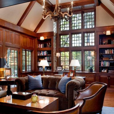 Home office - traditional freestanding desk dark wood floor home office idea in Boston