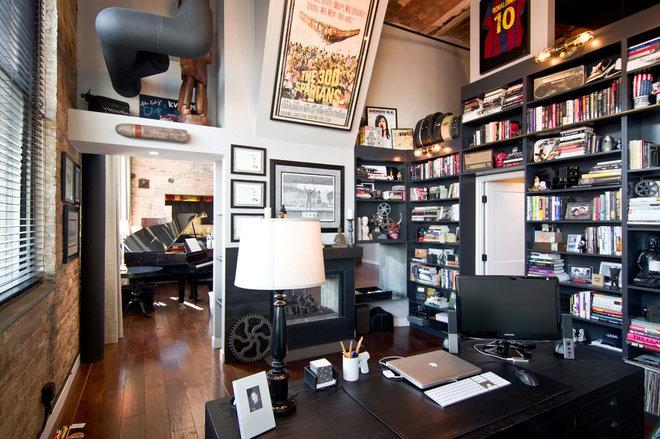 Industrial Home Office by Besch Design, Ltd.