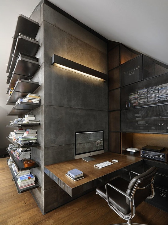 industrial home office design ideas, remodels & photos with dark
