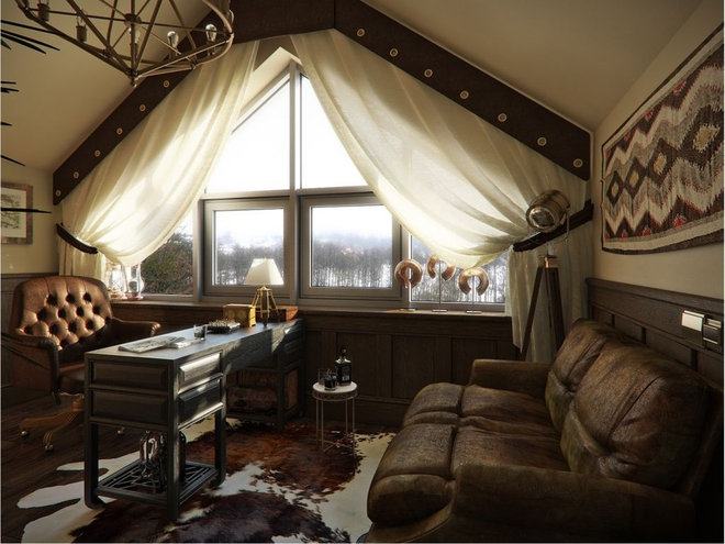 Rustic Home Office by Lompier Interior Group
