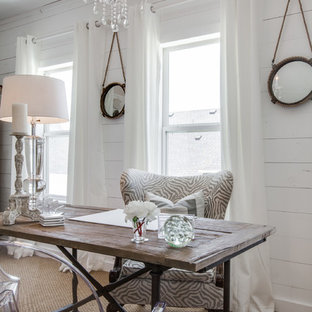 Inspiration for a small shabby-chic style home office in Atlanta with white walls, carpet and a freestanding desk.