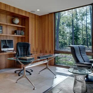 Пример оригинального дизайна: кабинет в современном стиле с полом из известняка