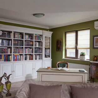Inspiration for a large rural home office and library in Other with green walls, terracotta flooring, a corner fireplace and a stone fireplace surround.