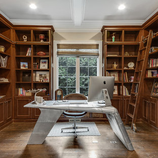 Inspiration For A Timeless Freestanding Desk Dark Wood Floor And Brown  Floor Study Room Remodel In